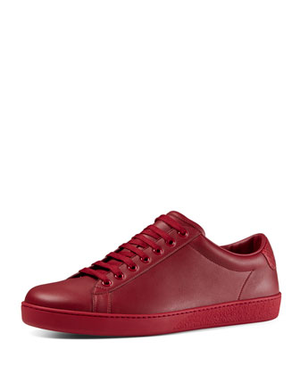 Leather Low-Top Sneaker, Red