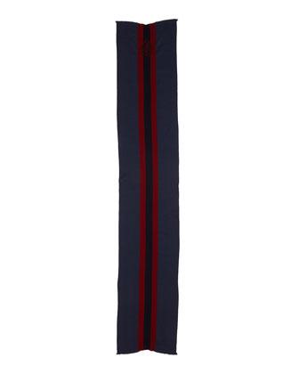 Web Jacquard Knit Scarf, Blue/Red