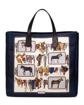 Large Horse Frame-Print Tote Bag, White/Brown