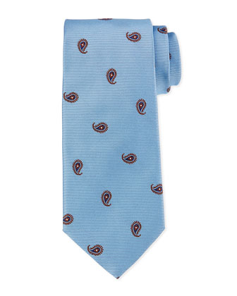 Textured Floral-Print Tie, Blue/Brown