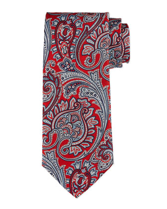 Large Scale Paisley-Print Silk Tie, Red
