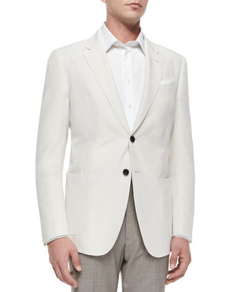 Two-Button Solid Sport Coat, Ivory