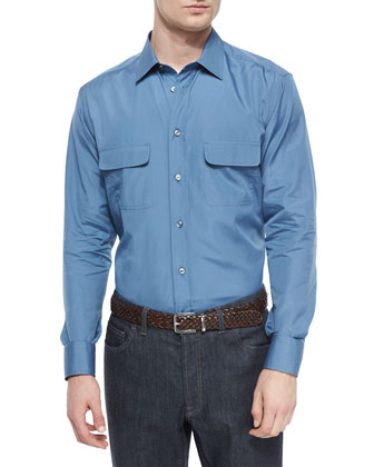 Solid Sport Shirt with Western-Pockets, Slate