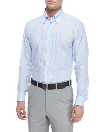 Linen-Blend Striped Sport Shirt, Blue