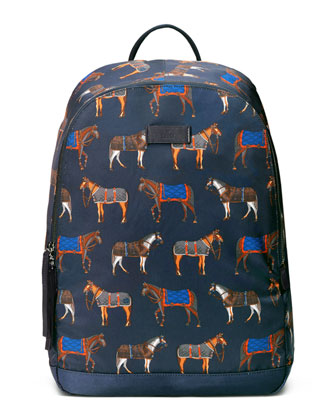Horse-Print Backpack, Blue/Red