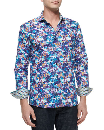 Victor 69 Multi-Print Sport Shirt, Purple
