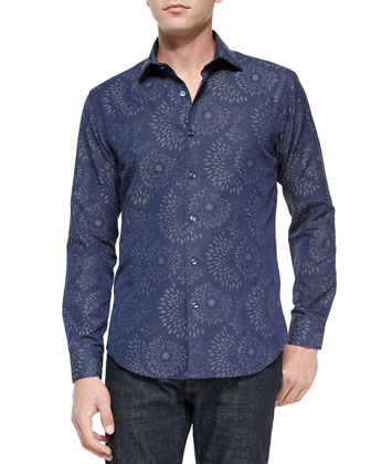 Blake 83 Printed Long-Sleeve Sport Shirt, Navy