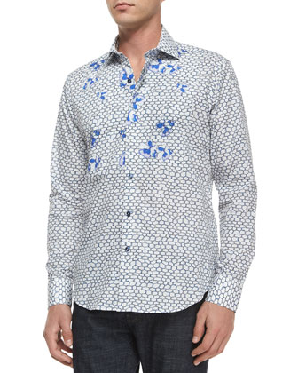 Flower-Print Long-Sleeve Sport Shirt, Blue