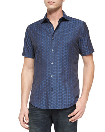 Blake 83 Mini-Print Short-Sleeve Sport Shirt, Navy
