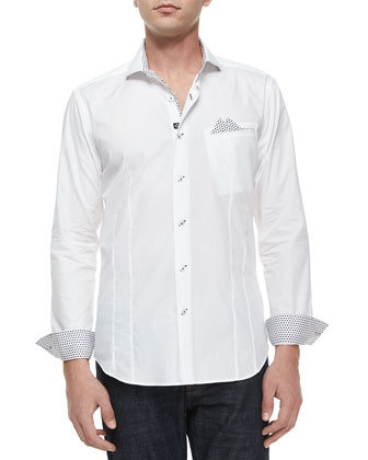 Ken 01 Solid Long-Sleeve Sport Shirt, White