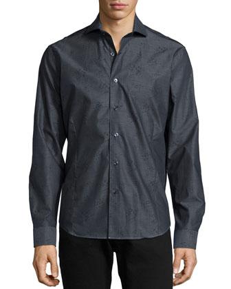 Winston Tonal-Print Sport Shirt, Black