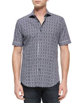 Mini-Print Short-Sleeve Sport Shirt, Blue Pattern