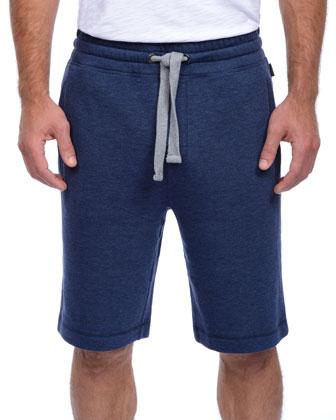 Terry Cotton-Blend Shorts, Blue
