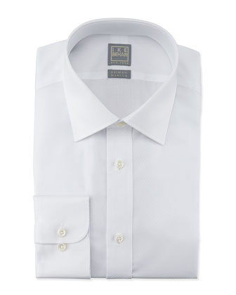 White-On-White Box-Check Dress Shirt