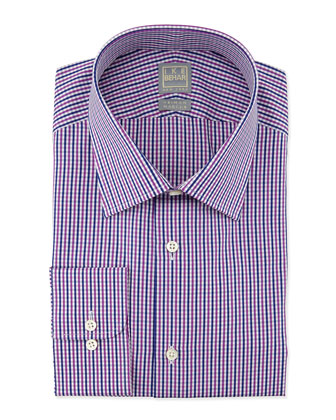 Small-Check Woven Dress Shirt, Fuchsia/Navy