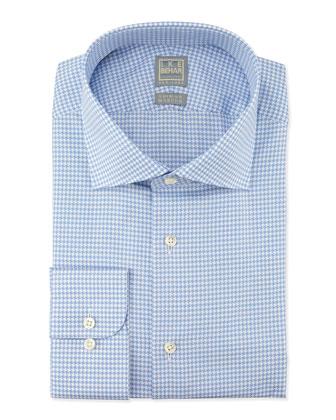 Textured Houndstooth Woven Dress Shirt, Blue