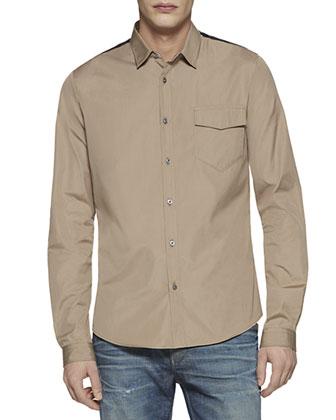 Duke Cotton Poplin Shirt, Beige