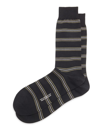 Mid-Calf Classic Neat-Stripe Dress Socks, Black