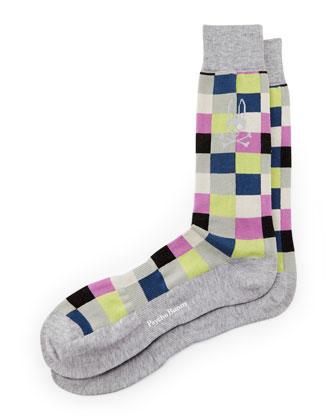 Box Check Socks, Gray/Multi