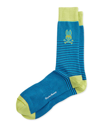 Micro Stripe Socks, Blue
