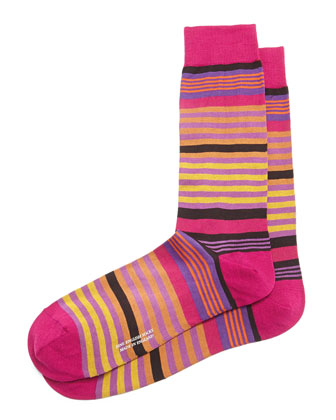 Mid-Calf Multi-Striped Dress Socks, Fuchsia