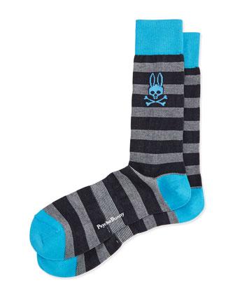 Melange Striped Socks, Blue