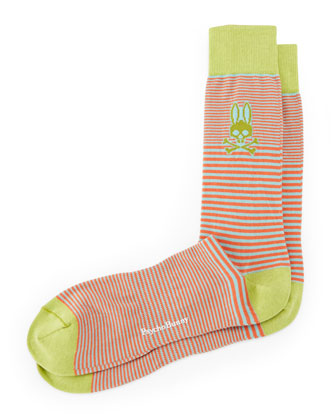 Micro Striped Socks, Lime/Orange