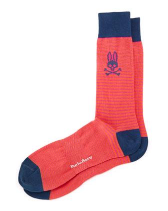 Micro Stripe Socks, Berry