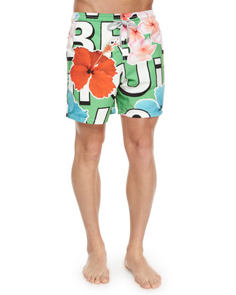 Moorea Block Lettering & Floral-Print Swim Trunks, Green