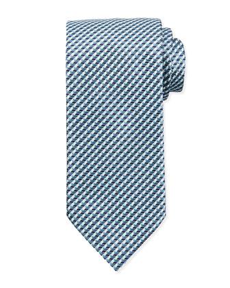 Triangle-Print Neat Tie, Light Blue