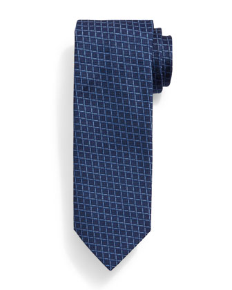 Grid-Box Pattern Tie, Blue/Navy