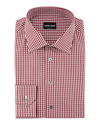 Gingham-Print Woven Dress Shirt, Burgundy