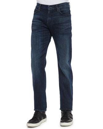 Standard-Fit Marine Denim Jeans, Dark Indigo