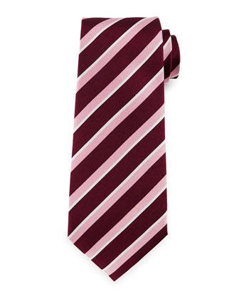 Wide-Stripe Silk Tie, Pink