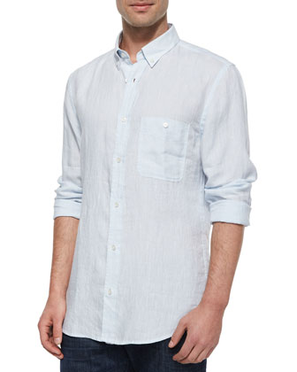 Linen Long-Sleeve Oxford Shirt, Light Blue