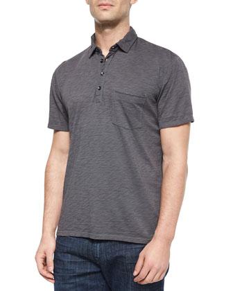 Raw-Edge Short-Sleeve Polo Shirt, Gray