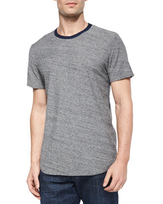 Textured Short-Sleeve Crewneck Tee, Gray