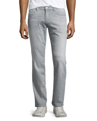 Straight Axle Wash Denim Jeans, Gray