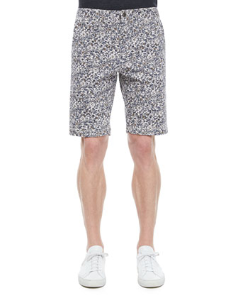 Tristen Allover Floral Print Shorts, Dark Gray