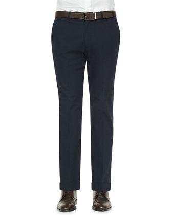 Jake Tonal Textured Flat-Front Pants, Navy