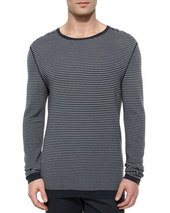 Striped Long-Sleeve Crewneck Sweater, Gray/Black