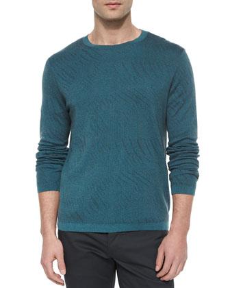 Tonal Textured Long-Sleeve Sweater, Blue