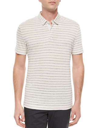 Striped Linen Short-Sleeve Polo Shirt, Cream/Navy