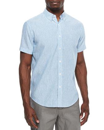 Mini-Stripe Short-Sleeve Linen-Blend Shirt, Light Blue