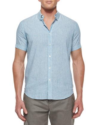 Striped Short-Sleeve Linen Shirt, Navy/White