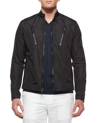 Leather-Trim Moto Jacket, Black