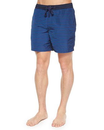 Tidal Striped Swim Trunks, Blue