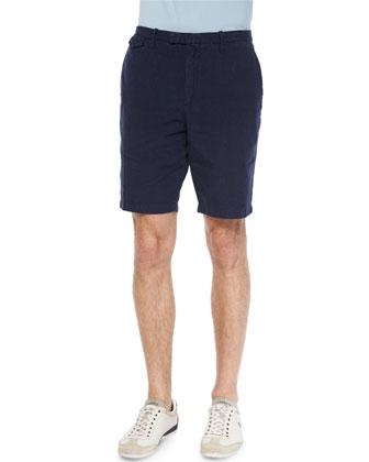 Overdyed Check Shorts, Navy