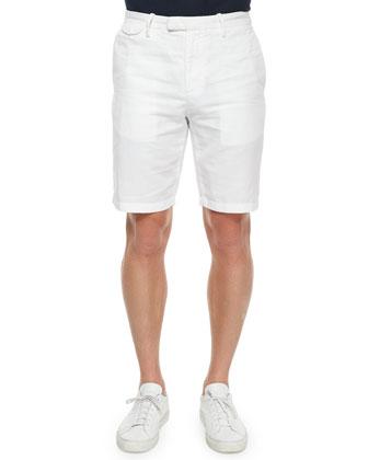 Cotton/Linen Chino Shorts, White