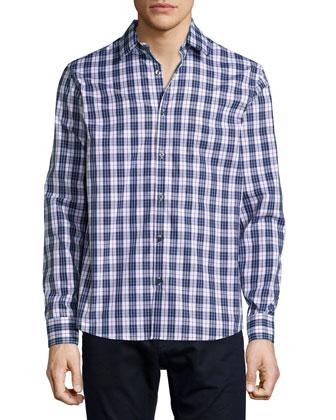 Ashton Check Woven Shirt, Blue